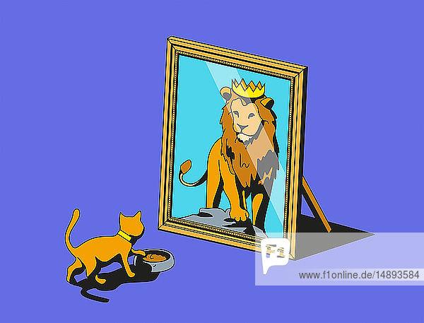 Katze schaut in den Spiegel und sieht Löwenreflexion