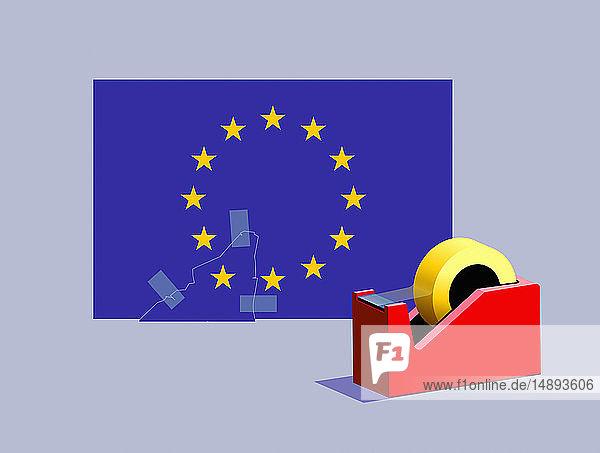 Klebeband verbindet den fehlenden Stern wieder mit der Flagge der Europäischen Union
