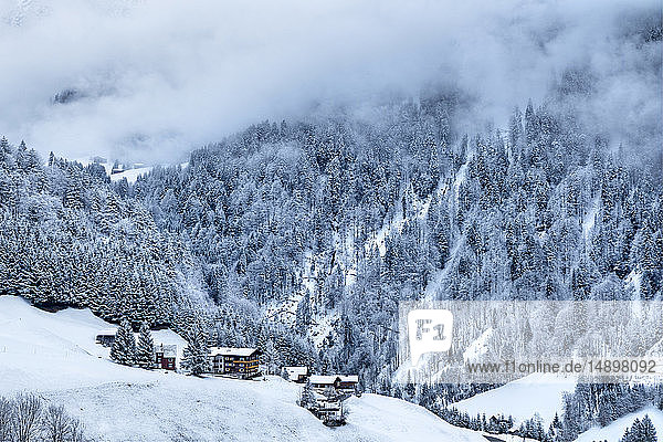 Austria  Biosphere Park Grosses Walsertal  Sonntag  chalets and mountain huts  the valley covered with snow