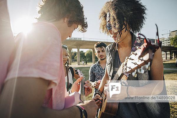 Freunde sehen Männer an  die an einem sonnigen Tag im Konzert Ukulele spielen