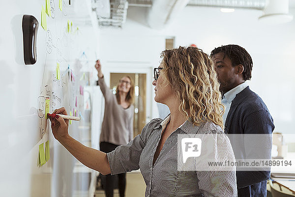 Businesswomen writing on whiteboard while working in board room