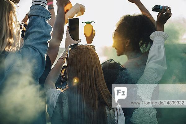 Rückansicht der Freunde  die beim Musikfestival zusammen tanzen