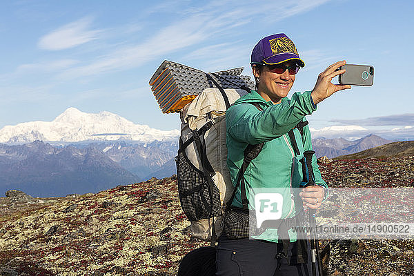 Woman taking selfie while backpacking with Denali in the background,  along the Kesugi Ridge Trail,  Denali State Park on a sunny autumn day,  Southcentral Alaska,  USA