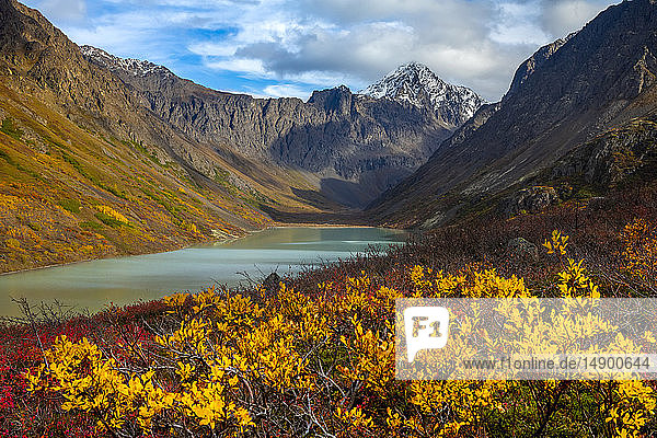 Scenic view of Eagle Lake and Eagle Peak in Chugach State Park  South-central Alaska; Alaska  United States of America