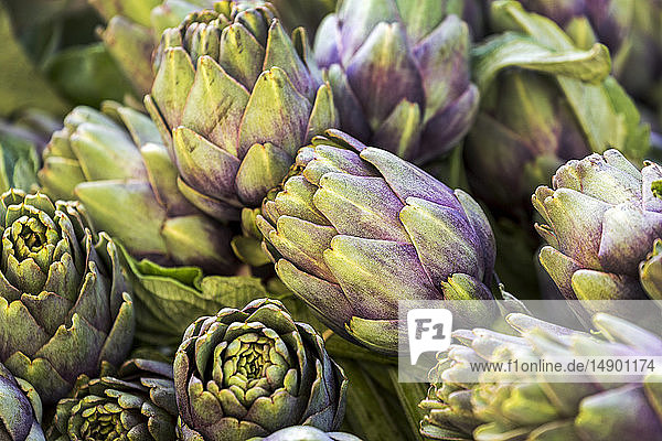 Close-up of artichokes in a market; Luxembourg City  Luxembourg