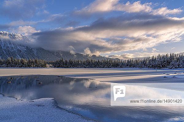 Winter afternoon at Mendenhall Lake; Juneau  Alaska  United States of America