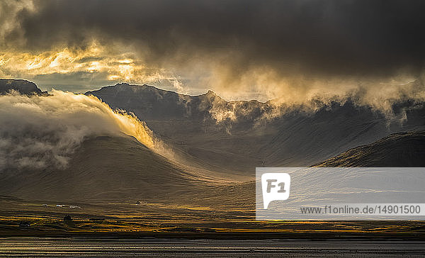 Beautiful sunset light over the East Fjords of Iceland; Iceland