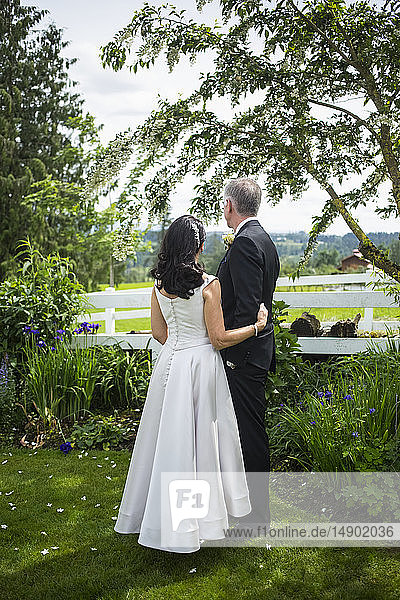 Bride and groom stand looking out over fields and farmland from a residential yard; Langley  British Columbia  Canada