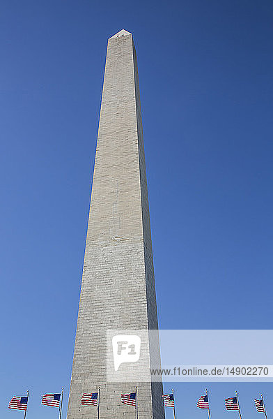 Washington Monument with American flags below; Washington DC  United States of America