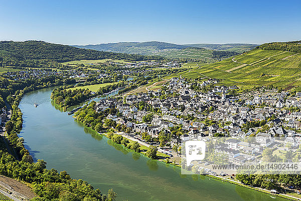 View of riverside village with bend in the river and steep vineyard slopes in the background and blue sky; Bernkastel  Germany