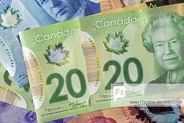 Close-up of two 20 Canadian dollars with other colourful Canadian money in the background