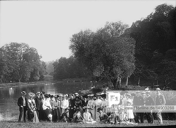Magic lantern slide circa 1880.Victorian/Edwardian.Social History. Slide set: The River Thames: from its head springs to the sea  lecture. The incorporated society of musicians gathered on the river Thames at Arundel