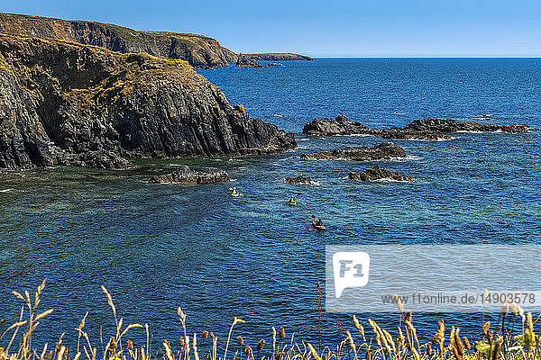 Kayaking along the Copper Coast Geopark; County Waterford  Ireland