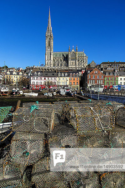 Cathedral Church of St. Colman in the background and fishing supplies in the foreground; Cobh  County. Cork  Ireland
