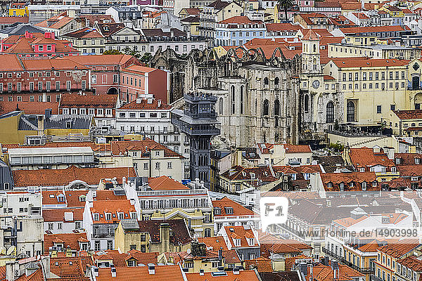 Overlooking the city of Lisbon from millennium-old walls of St. George's Castle; Lisbon  Lisboa Region  Portugal
