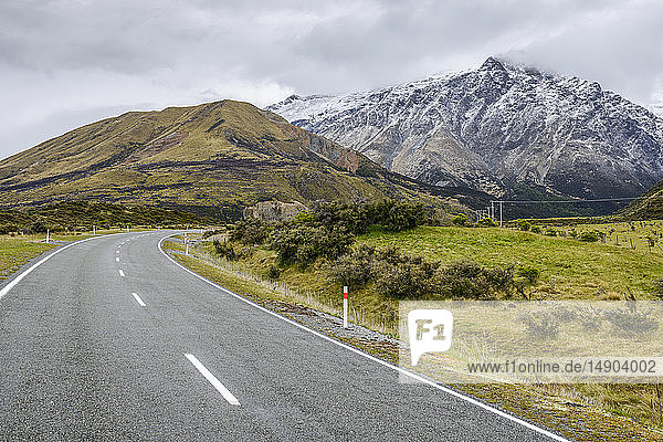 Snowy mountains and Mount Cook Road; South Island  New Zealand