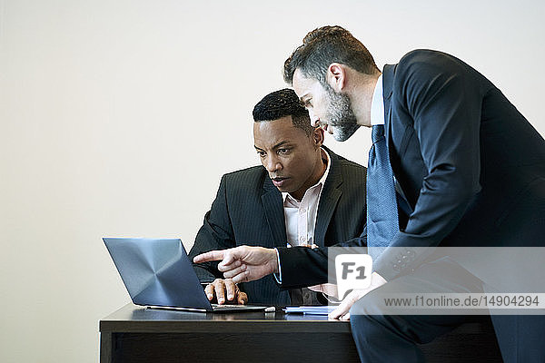 Businessmen discussing project on laptop