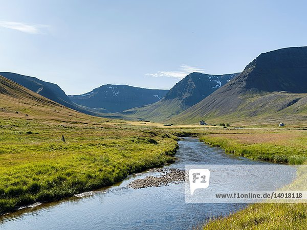 Valley Eyrardalur on the Thingeyri peninsula. The remote Westfjords (Vestfirdir) in north west Iceland. Europe  Scandinavia  Iceland.