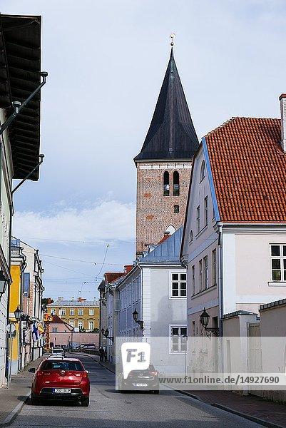 Tartu street and tower Evangelist Lutheran St John's Church. Tartu  Tartu County  Estonia  Baltic states  Europe.