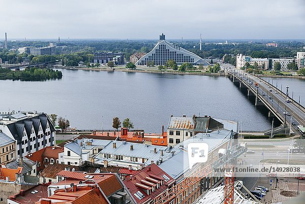 Riga old town from St. Peter's Church. The two banks of river Daugava  Latvia  Baltic states  Europe.