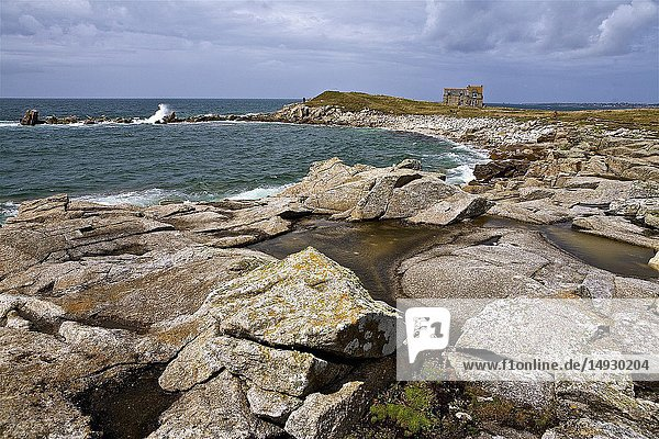 Coastal landscape and isolated house in Lampaul Plouarzel  Finistere  Brittany  France.