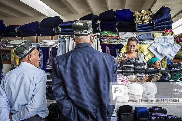 Hat shop  in Siob Bazaar  Samarkand  Uzbekistan.