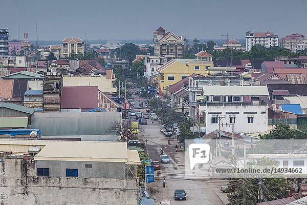 Cambodia  Battambang  elevated city view from the west  dusk.