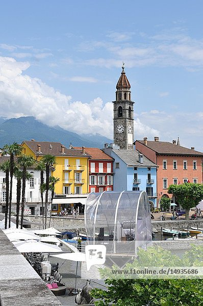Switzerland: The historic clock tower in Ascona City at Lake Langensee in Ticino.