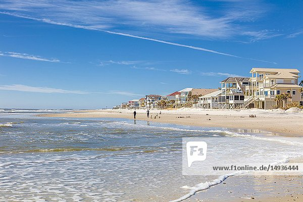 Houses on Gulf of Mexico beach on St George Island in the panhandle or Forgotten Coast area of Florida in the United States.