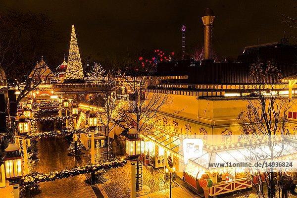 The enlightened Tivoli Garden  Copenhagen  Denmark  during Nighttime and Christmas Time.