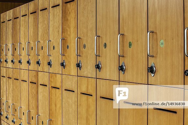 Students' locked lockers at a college.