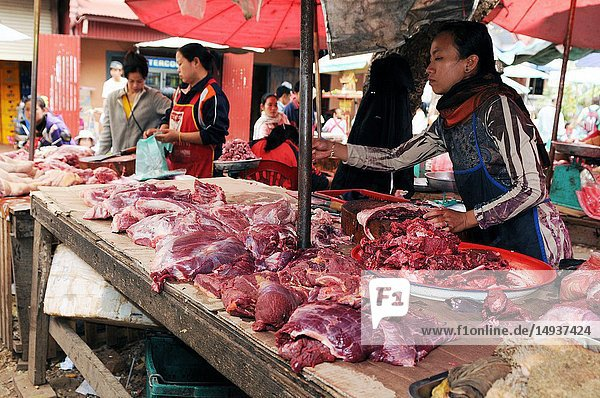 Laos: A woman selling fresh meat on the market in Luang Brabang.
