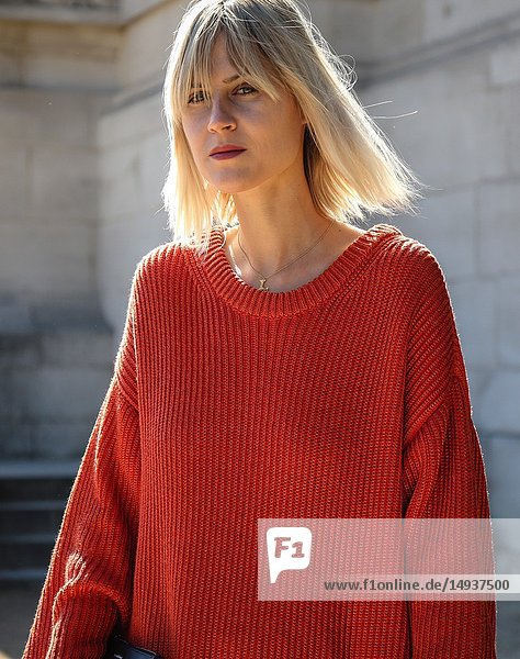 PARIS  France- September 27 2018: Linda Tol on the street during the Paris Fashion Week.