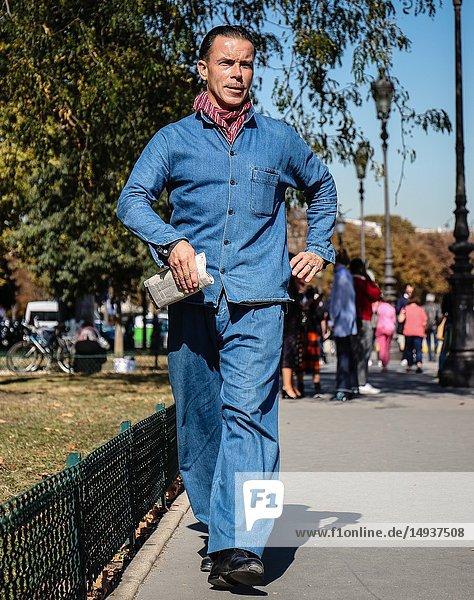 PARIS  France- September 27 2018: Markus Ebner on the street during the Paris Fashion Week.