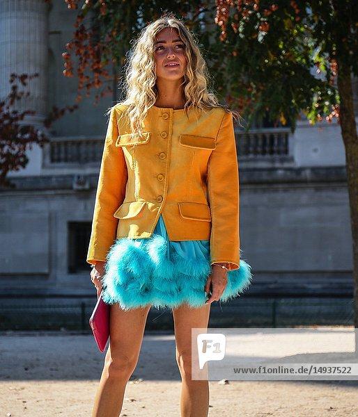 PARIS  France- September 27 2018: Emili Sindlev on the street during the Paris Fashion Week.