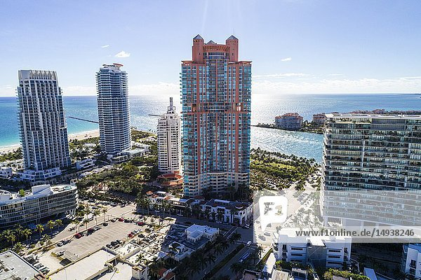 Florida  Miami Beach  aerial view  South Pointe  Murano Portofino  high rise condominium buildings  Apogee Continuum  Biscayne Bay  marina  city skyline