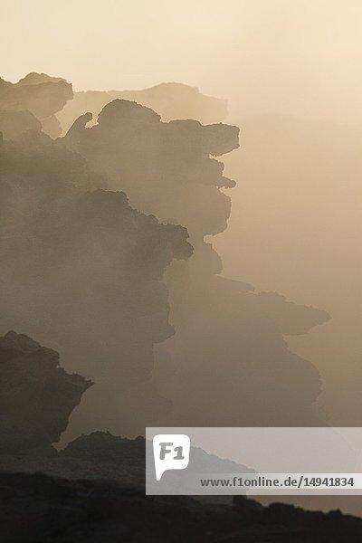 Solified lava from Erta Ale volcano in Danakil Depression desert in Ethiopia. Africa.
