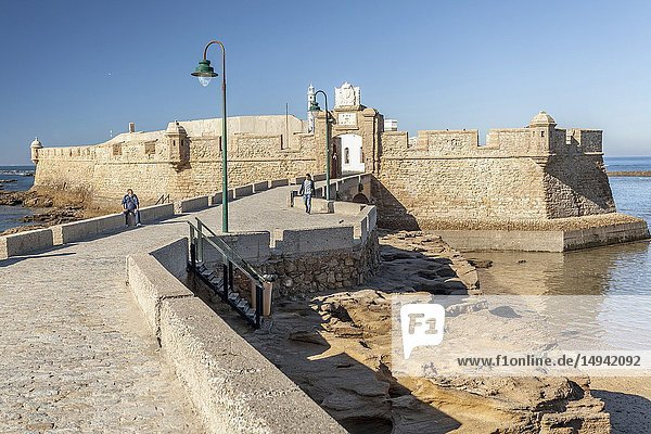 Castle of San Sebastian  fortress on a smail island separated from the main city  according classical tradition  there was a Temple of Kronos  cultural landmark of the city  Cadiz  Andalucia.
