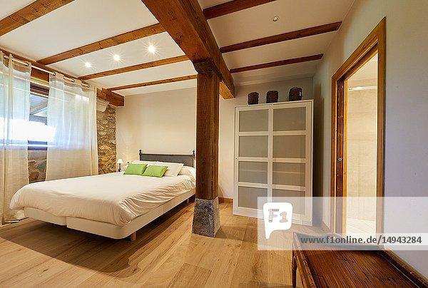 Bedroom  Urain Apartments  Basque farmhouse  Deba  Gipuzkoa  Basque Country  Spain  Europe
