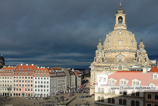 New market with Church of Our Lady of Dresden at evening - Germany.