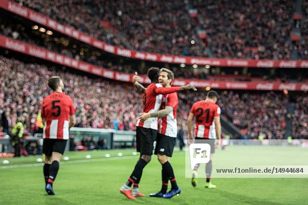 Iñaki Williams (L) and Iñigo Martinez (R)  Athletic players  celebrate the goal during a Spanish League match between Athletic Club Bilbao and Sevilla FC at San Mames Stadium on January 13  2019 in Bilbao  Spain