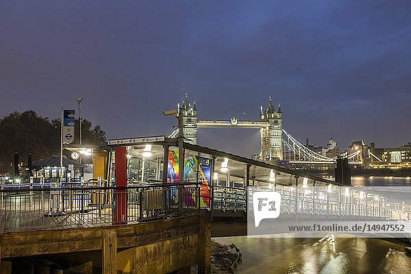 England London- Tower Millenium pier terminal and boarding point for Thames River Services at night.