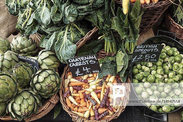 England  London  Borough Market-Organic vegetables on display.