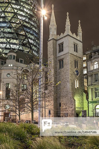 England  City of London  St Andrew Undershaft Church- historic Church amid modern offices. 15th-century church that survived 1666's Fire of London and the Blitz.