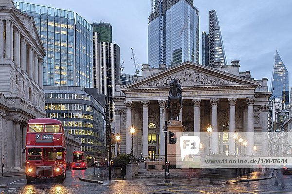 England  City of London- The Royal exchange building at night.