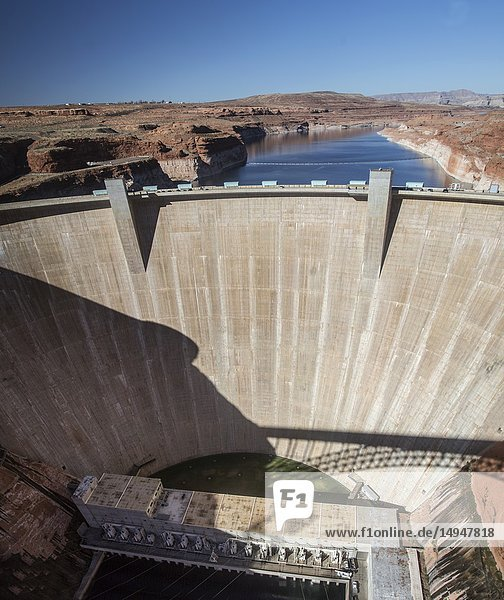 The Glen Canyon Dam provides electricl power at Lake Powell at the Glenn Canyon National Recreation Area  Arizona.
