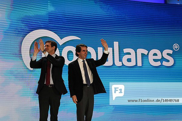 Pablo Casado and Jose Maria Aznar receiving the applause from the audience. The PP celebrates its national convention to establish the main lines of its electoral program for the three elections scheduled for May 26 and are key to gauge the leadership of the popular president  Pablo Casado