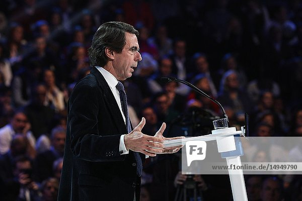 Jose Maria Aznar talking about the current situation in Spain. The PP celebrates its national convention to establish the main lines of its electoral program for the three elections scheduled for May 26 and are key to gauge the leadership of the popular president  Pablo Casado