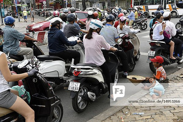 Trafic on street at downtown Ho Chi Minh City Vietnam South East Asia.