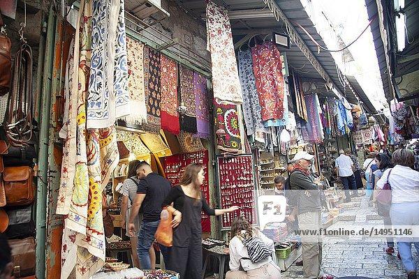 Stalls on Lanes Through Jerusalem Old City in Christian Quarter in Israel.